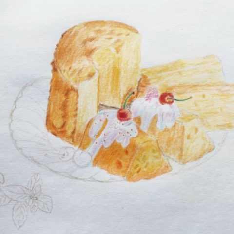 酸奶戚风蛋糕#手绘彩铅画##每日一画#最近天气盛好