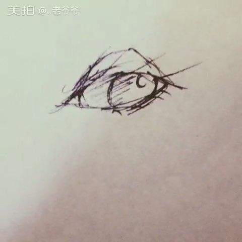眼睛#黑色中性笔手绘##二次元绘画##绘画##随手画