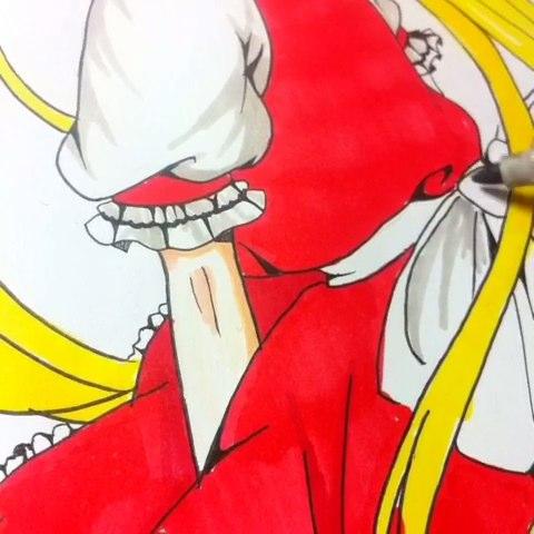画了只大喵子,求赞#绘画##二次元绘画##绘画过程##马克笔手绘##手绘画