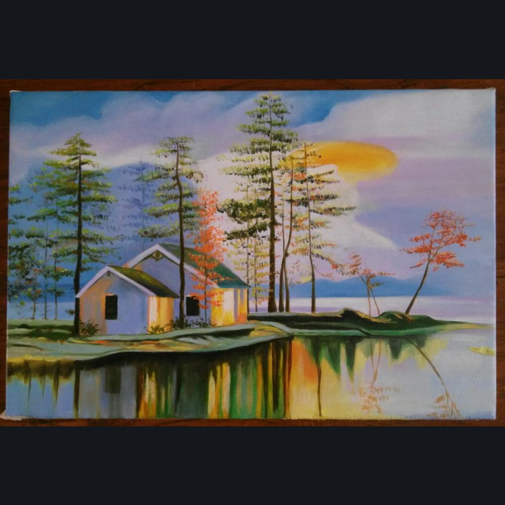 模仿树懒大赛#风景油画完整图,订画加微信977810595