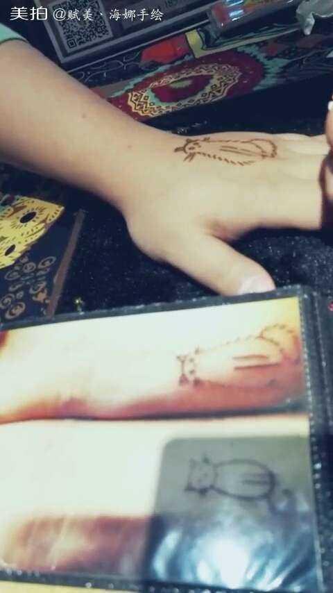 西安印度海娜手绘纹身#~情侣款猫咪图案哦~有爱的小情侣们~还不