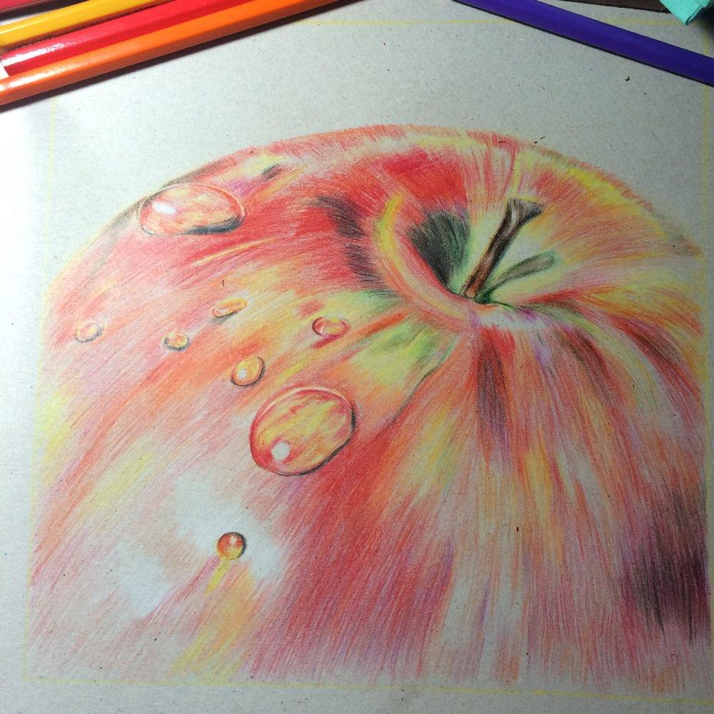 苹果#手绘##手绘彩铅画