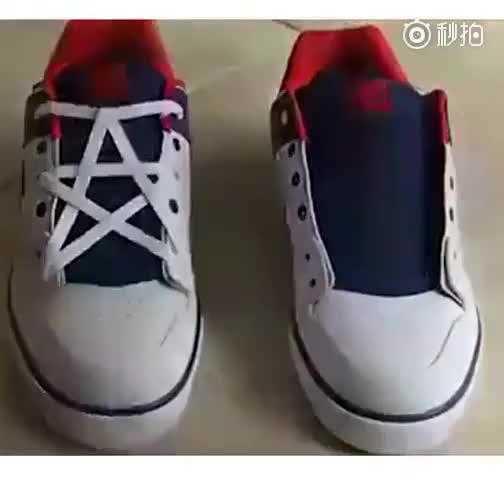 炫酷五角星鞋带系法!速速get√图片