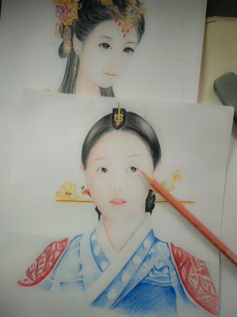 教程##古典美女##手绘彩铅画##人物彩铅手绘##手绘彩铅肖像画##水溶性