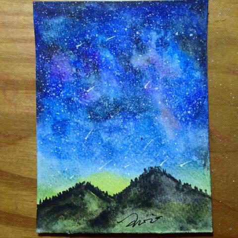 长城水粉画图片简单-水彩画 画星空 入坑水彩,新手渣渣 固彩和纸都不便宜啊, 王心心爱