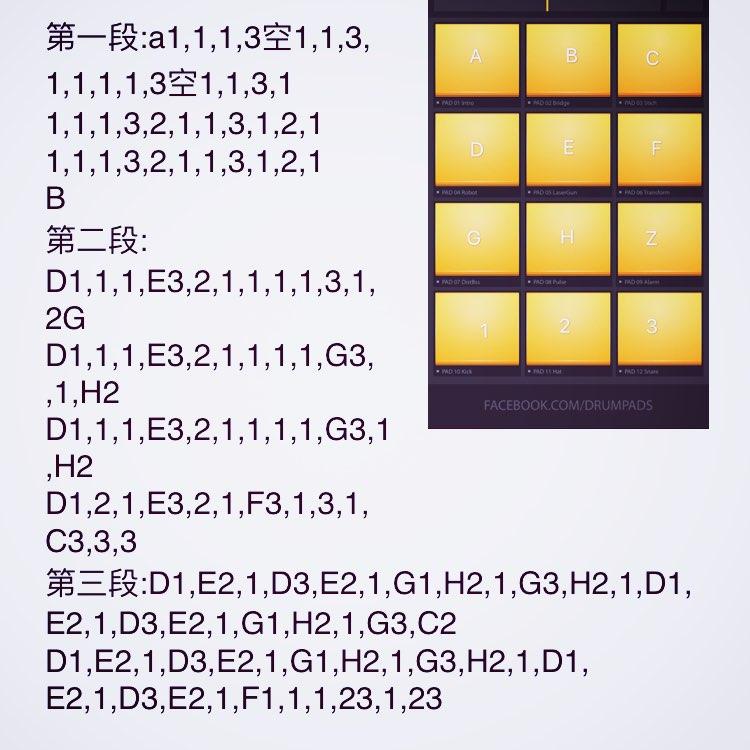 数字简单谱子大全-drumpads24.洛的美拍